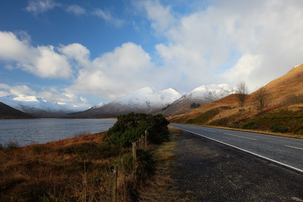 New Year's Eve in Scotland Highlands the road
