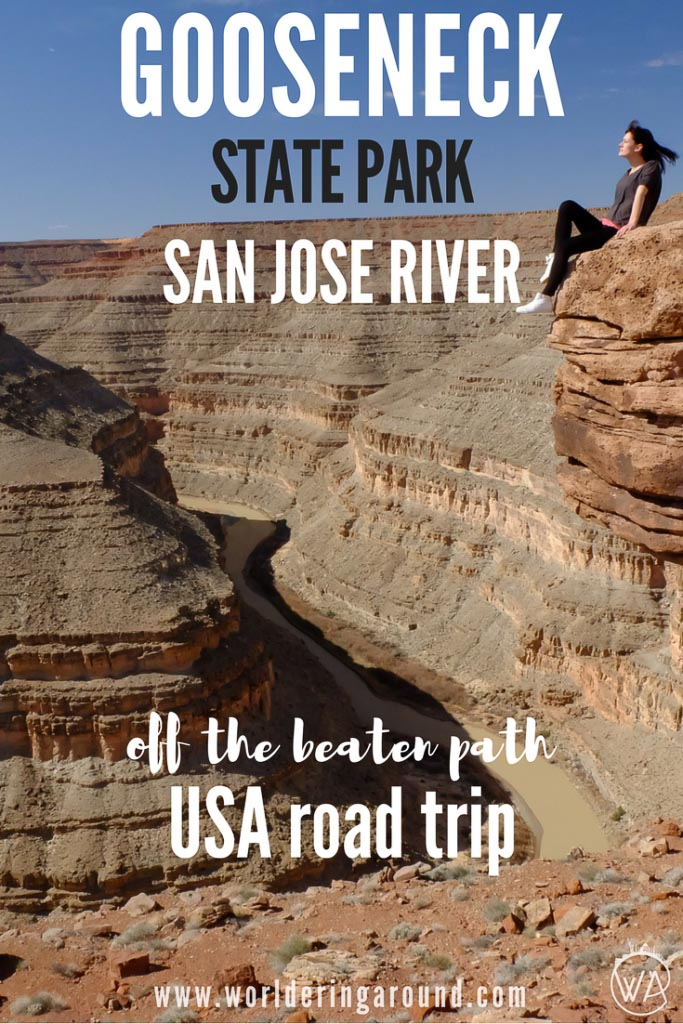 USA road trip off the beaten path - discover hidden gem Gooseneck State Park on San Jose River. It can compete with Horseshoe Bend in Utah and if this one is not on your way, you should definitely stop by the Gooseneck State Park in Utah. | Worldering Around