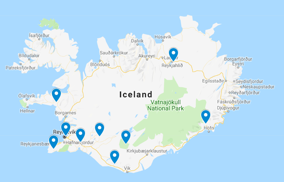 Hot springs Iceland map
