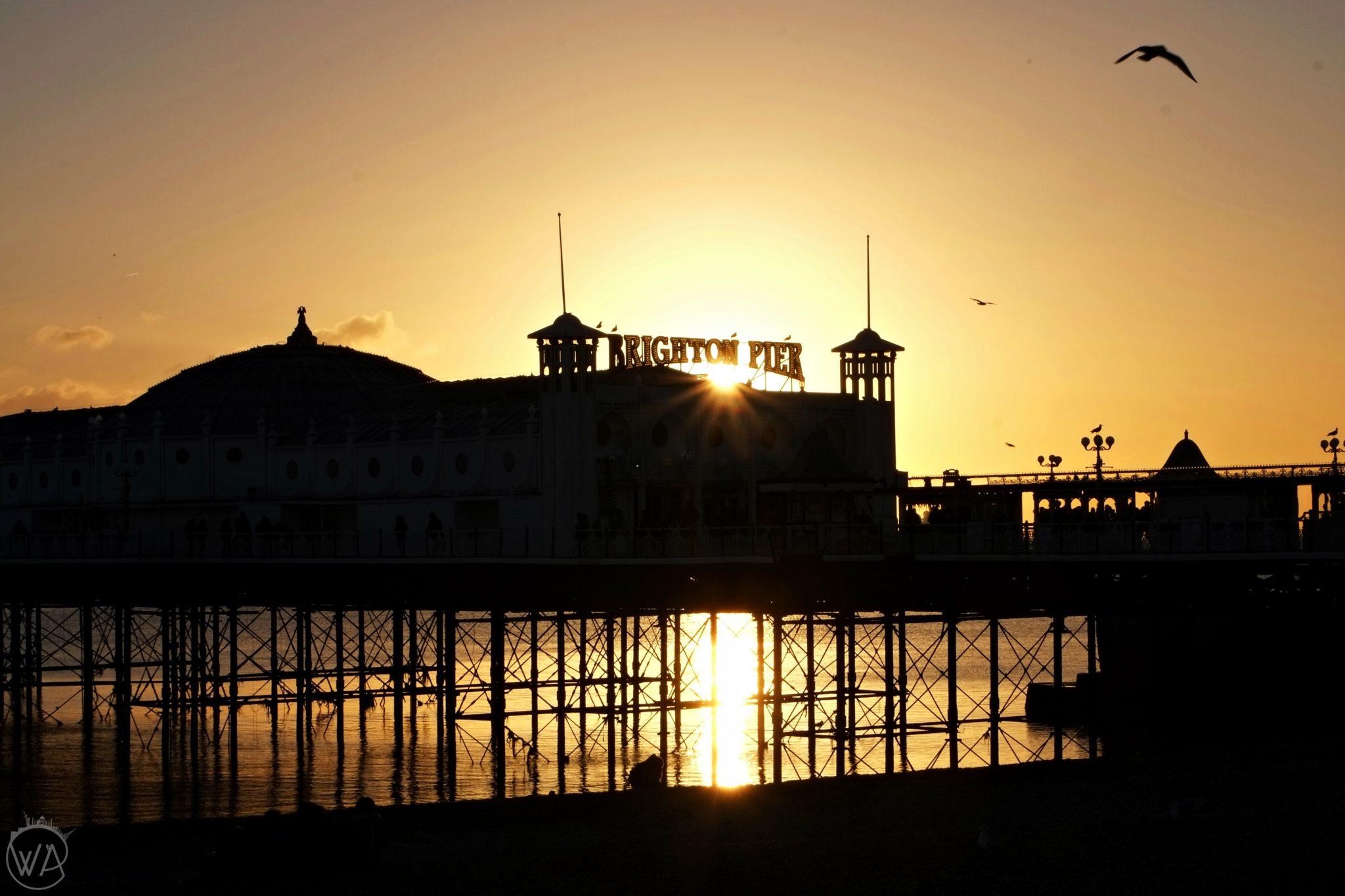 brighton pier in the evening