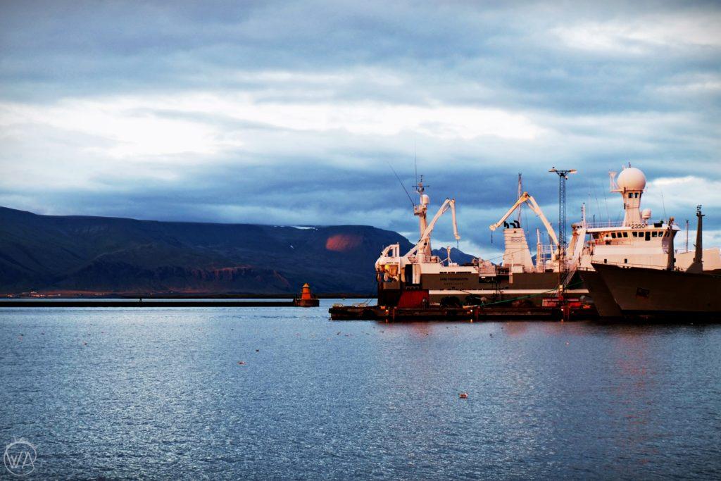 Statek w porcie, Reykjavik