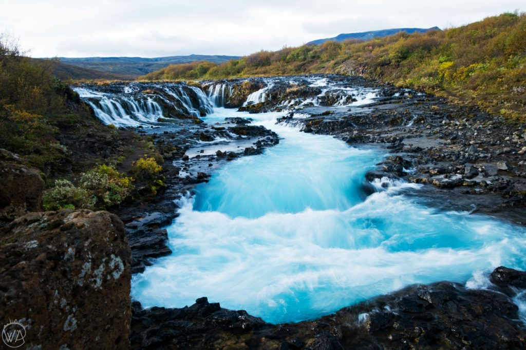 View of Brúarárfoss – milky Blue Waterfall Iceland