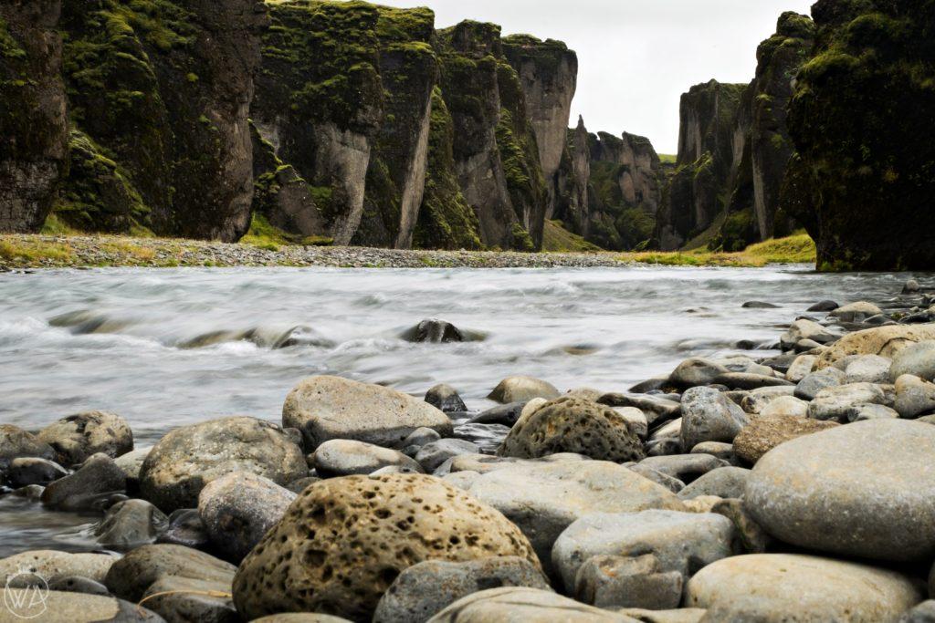 Iceland off the beaten path with hidden gems map - Bottom of Canyon Fjaðrárgljúfur Iceland