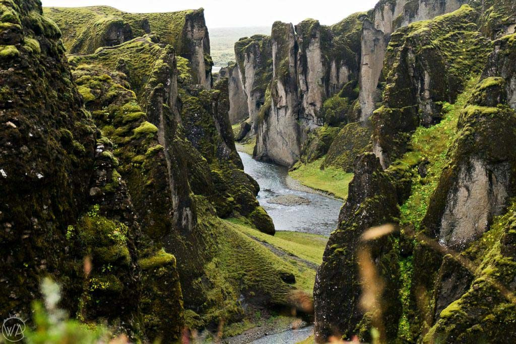 Iceland off the beaten path - Fjaðrárgljúfur canyon of the river Fjadra Iceland view from the top