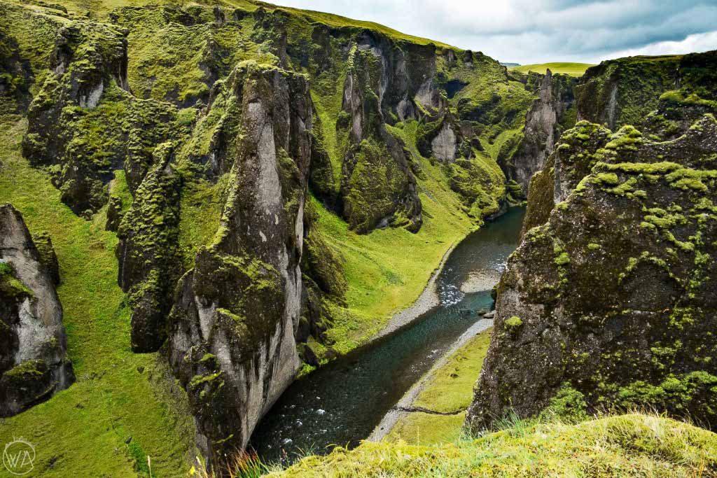 Iceland off the beaten path - View from the top of Fjaðrárgljúfur canyon Fjadra river Iceland