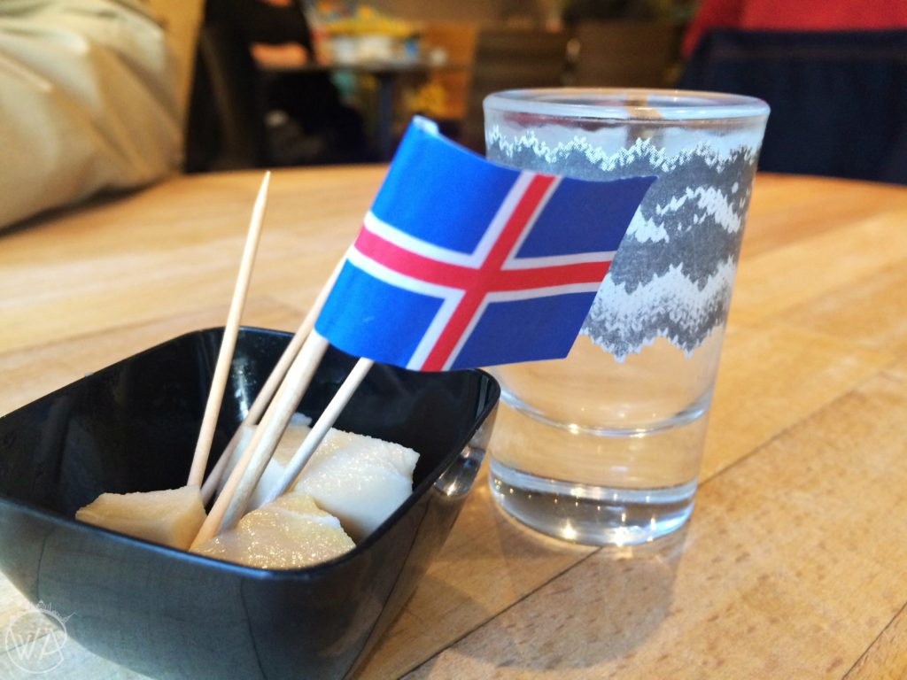 Hakarl fermented shark and Brennivin vodka in Reykjavik, Iceland - food in Iceland, what to eat and what to avoid