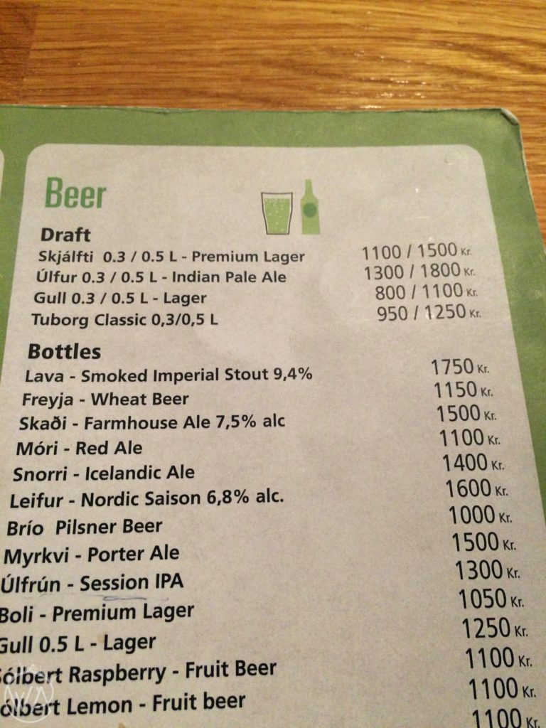 Beer prices in Iceland
