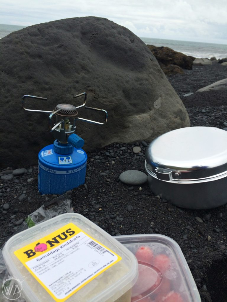 Camping food in Iceland - lunch on the black beach