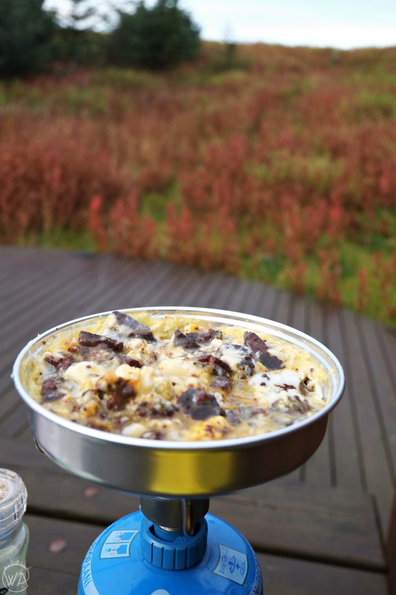 Breakfast during wild camping