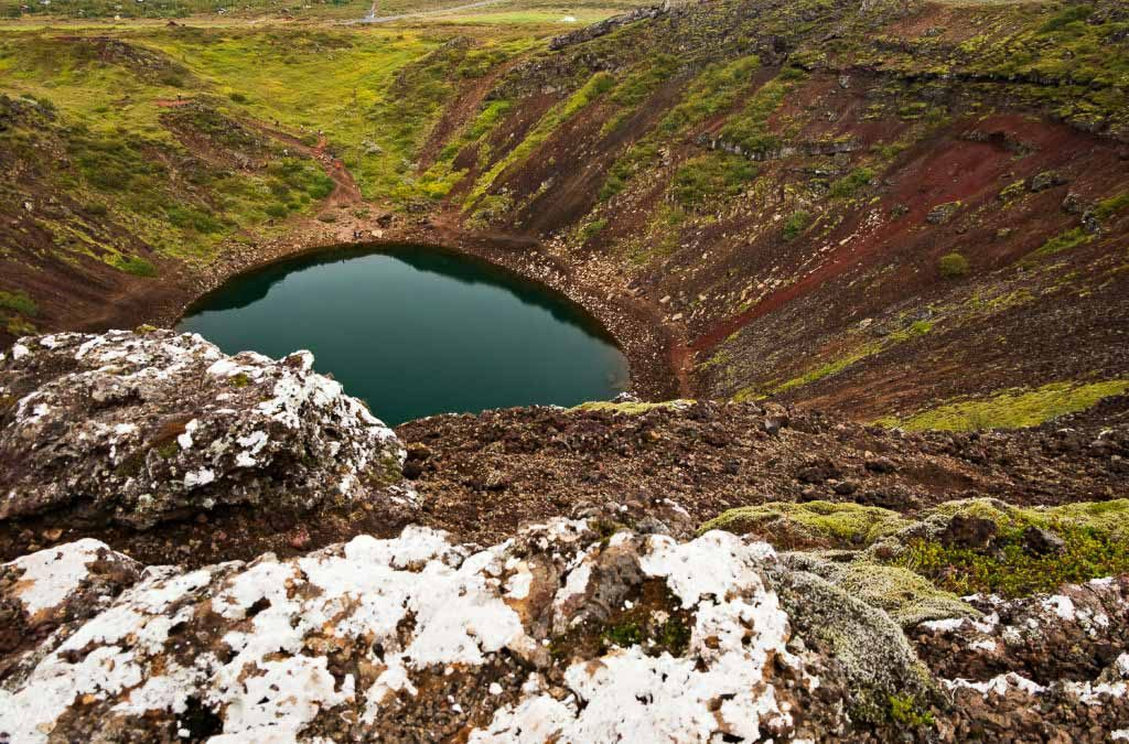 Iceland off the beaten path - Kerið volcanic crater lake view from above