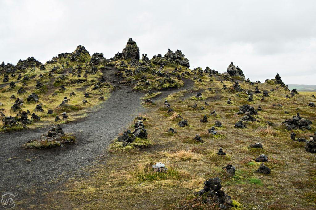 Laufskálavarða hill with rock piles Iceland