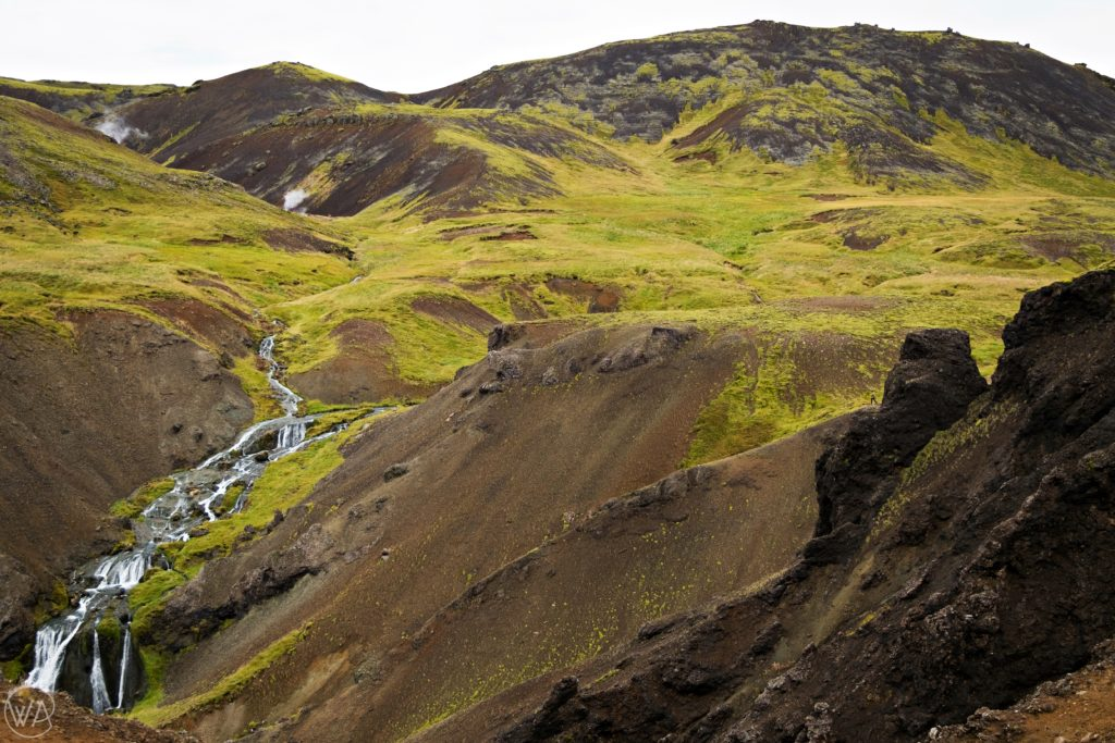Iceland off the beaten path with hidden gems map - Waterfall in hot river hiking trail in Hveragerði Iceland
