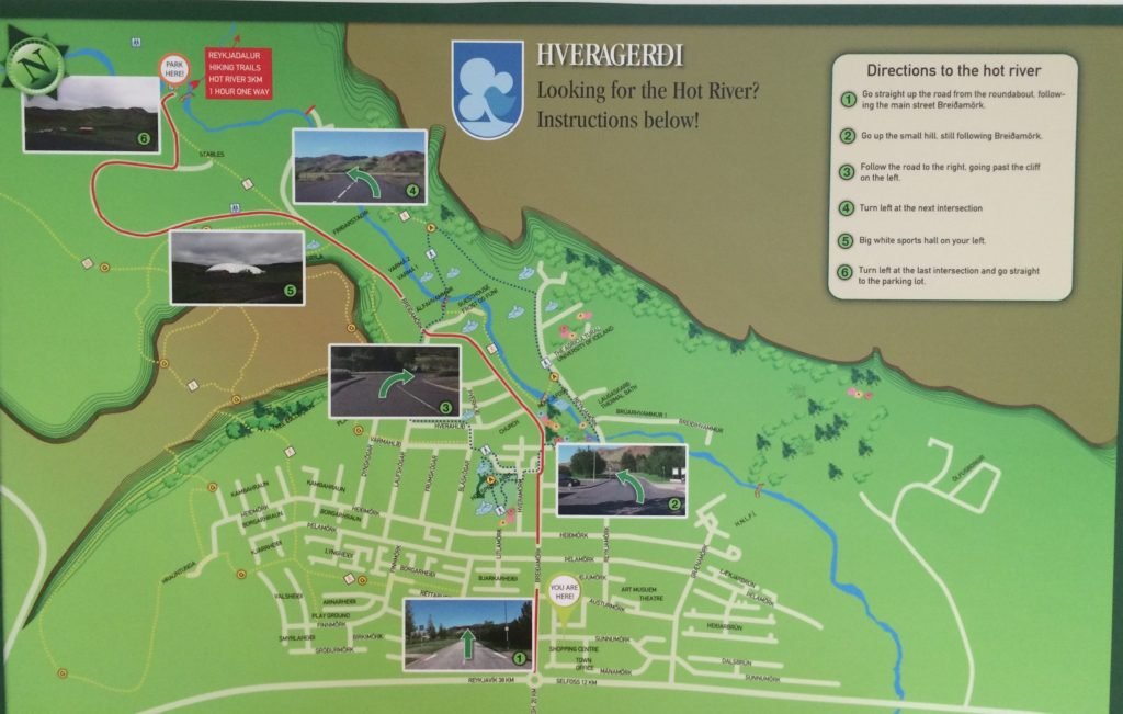 Iceland off the beaten path with hidden gems map - Hveragerði hot river trail map to parking
