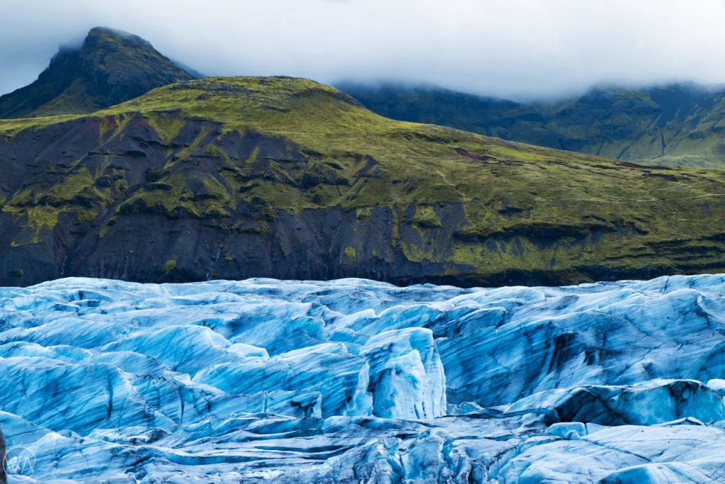 Iceland off the beaten path with hidden gems map - Svínafellsjökull glacier and a mountain Iceland