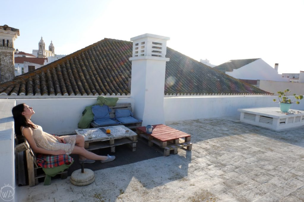 Enjoying rooftop in Faro - Portugal road trip itinerary, 4 days in Portugal