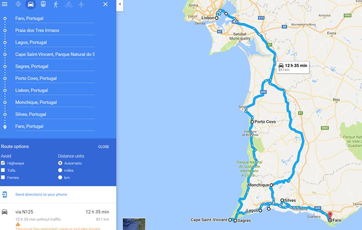 Portugal map roadtrip