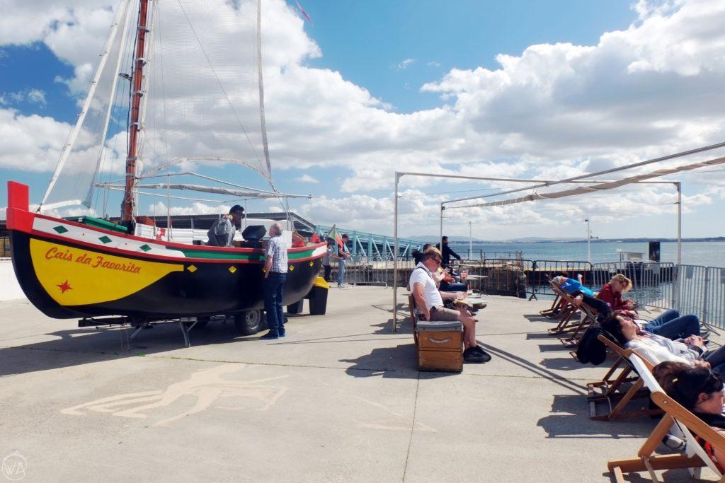 Boat bar cafe in Lisbon Portugal