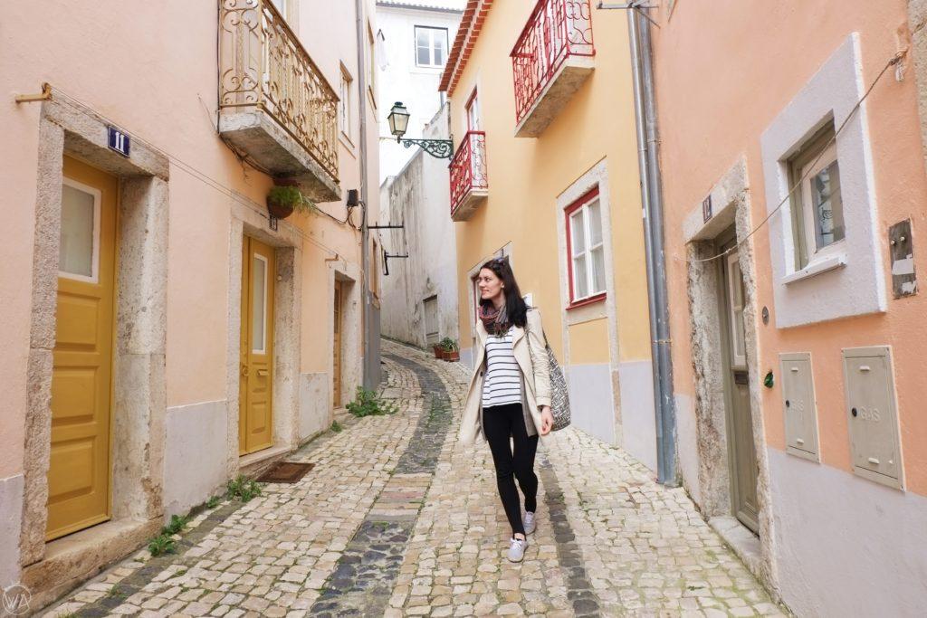 Walking through Lisbon streets in Alfama