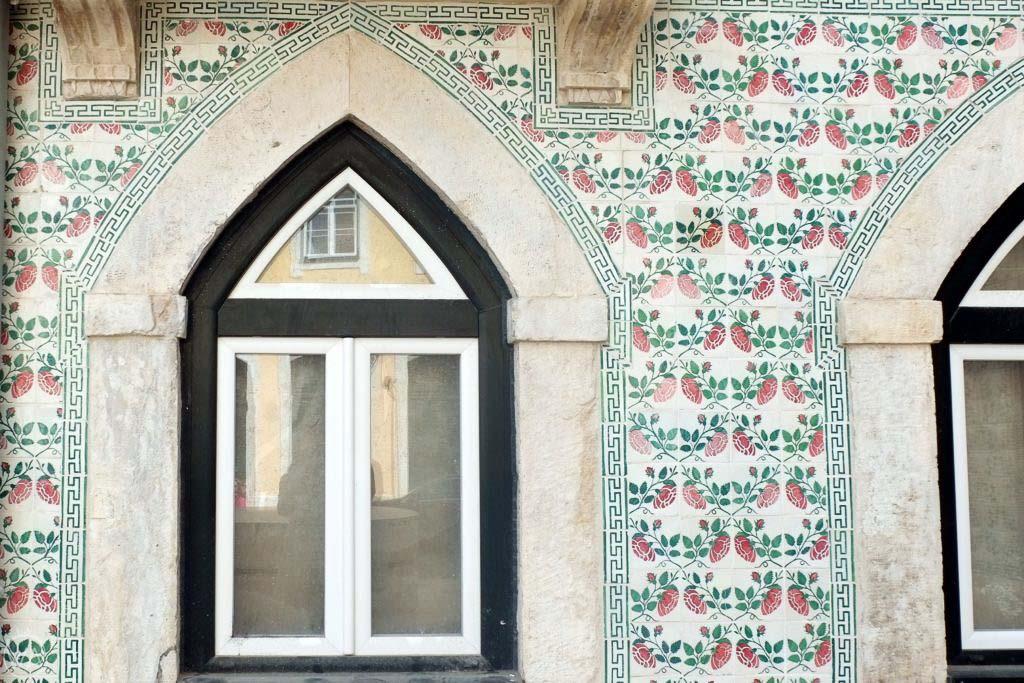 Azulejos windows in Lisbon, Portugal