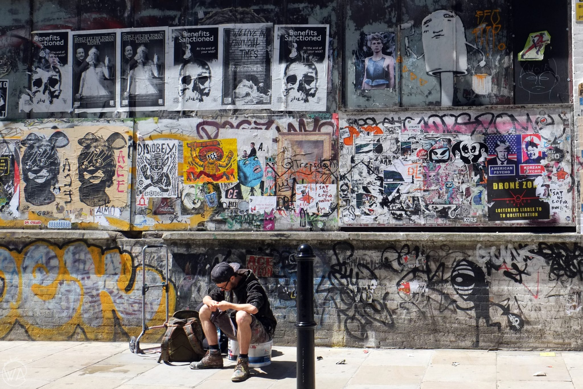 Graffiti artist in East End London Brick lane