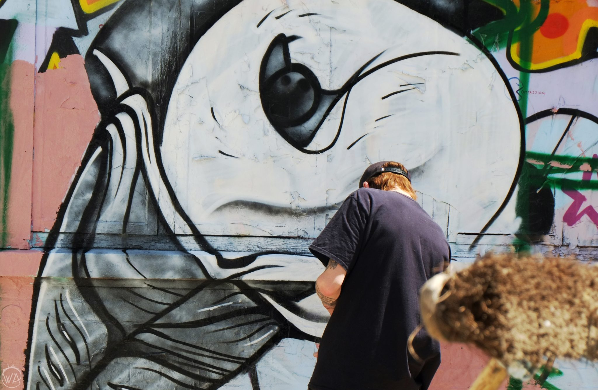 Graffiti artist creating, Brick Lane London
