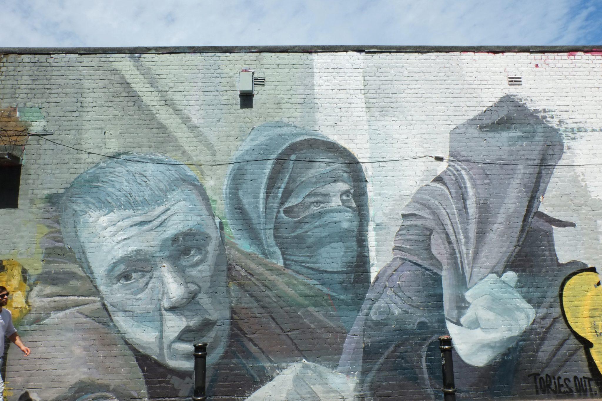 Mural street art in Brick Lane, London