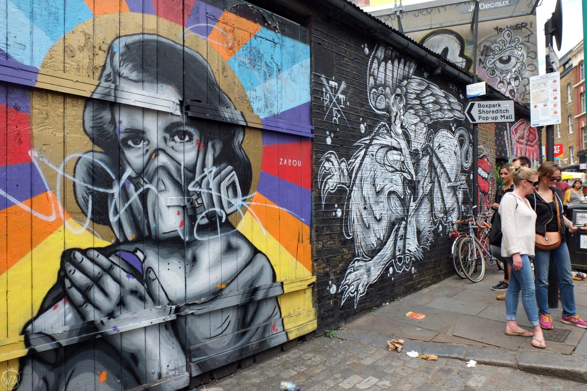 Street art of a girl, Brick Lane, East End London
