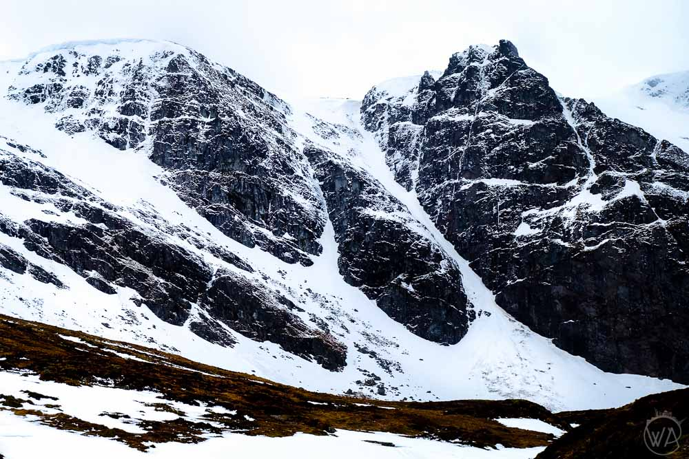 Snowy peaks of Scottish Highlands