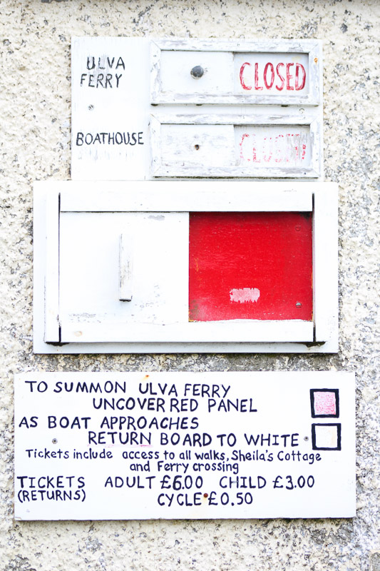 Isle of Ulva boat timetable
