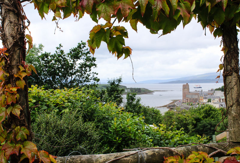 View from the top of the hill to the harbour in Oban