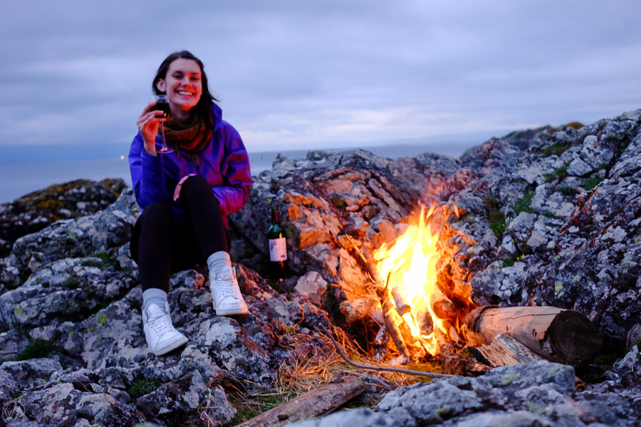 campfire, wild camping tips, wine
