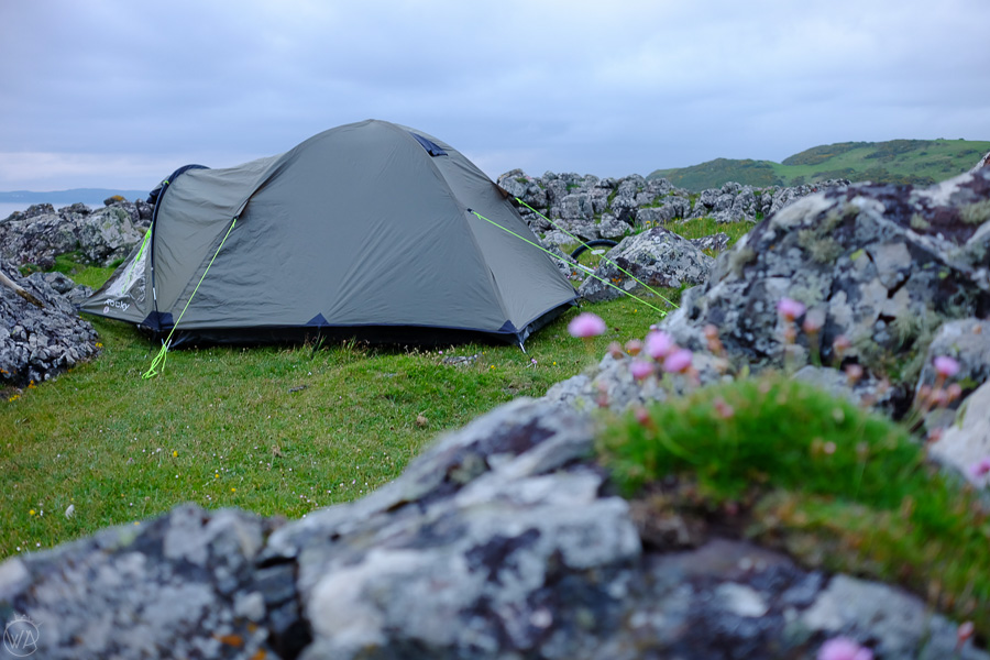 Wild camping Isle of Bute, Scotland. Correct wild camping equipment helps for a rewarding camping experience