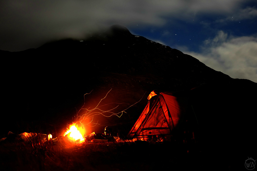 Wild camping fire
