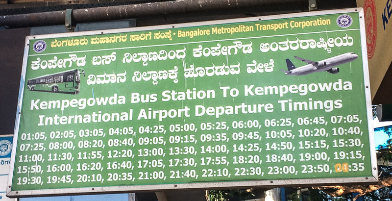 Bus timings Bangalore to the Kempegowda International Airport