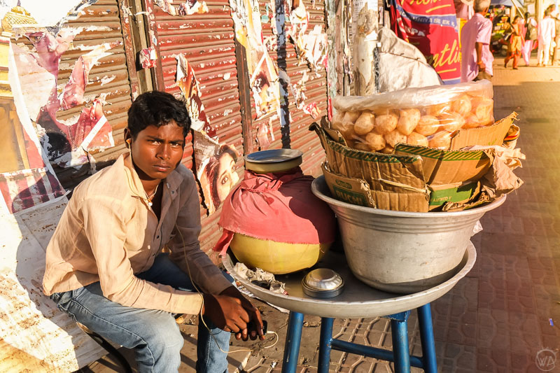 Boy selling puri Bangalore Karnataka, India