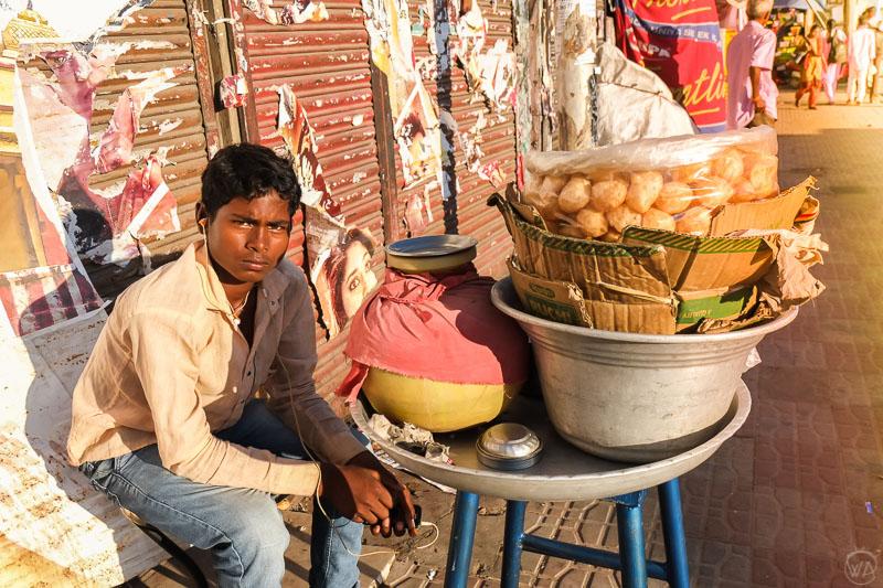 Boy selling puri Bangalore Karnataka, India