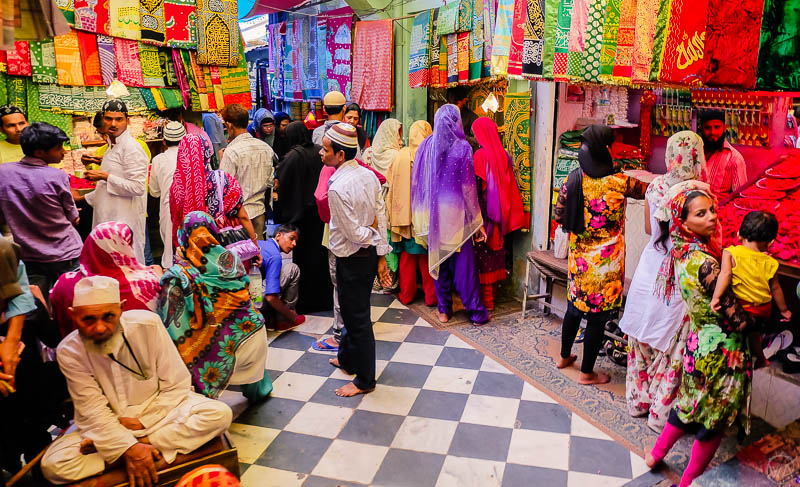 Colourful market in India