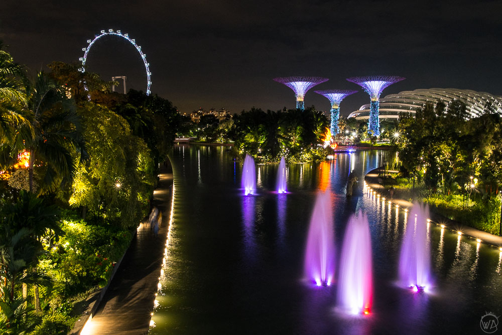 View from the bridge in the Gardens by the Bay in Singapore