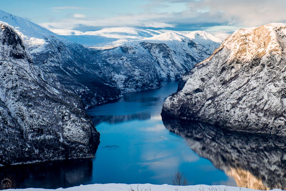 Norwegian fjords in winter with the route of Flam fjord scenic cruise during Norway in a Nutshell in winter