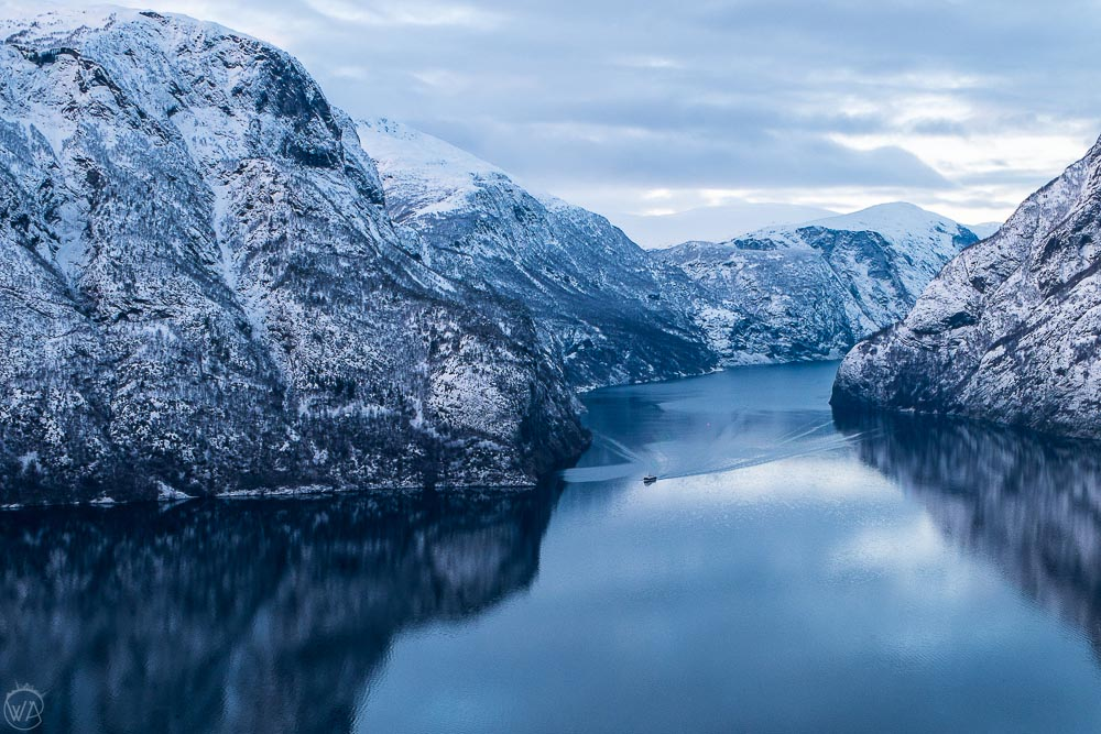 Flam fjord cruise in Naeroyfjord during Norway in a Nutshell in winter