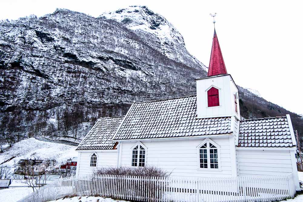 The smallest church in Scandinavia in Undredal in winter