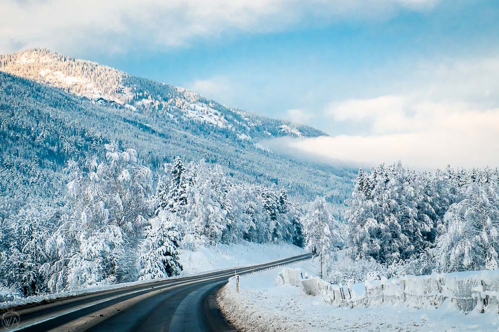 Norway winter travel road trip