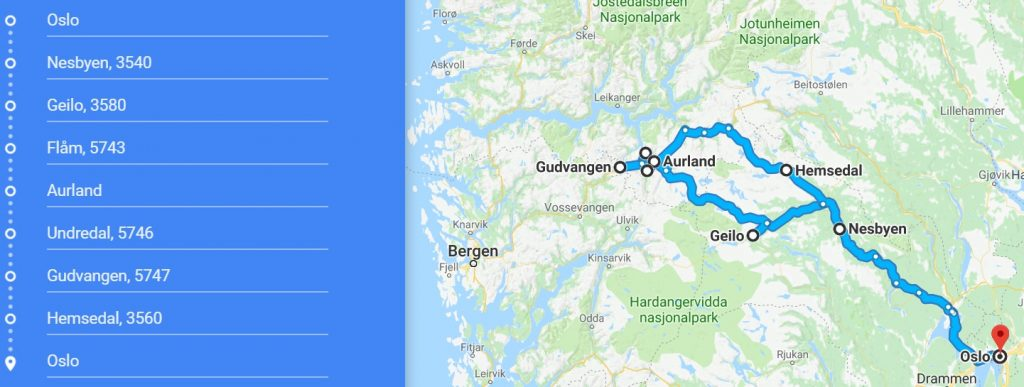 norway winter travel road trip itinerary - map