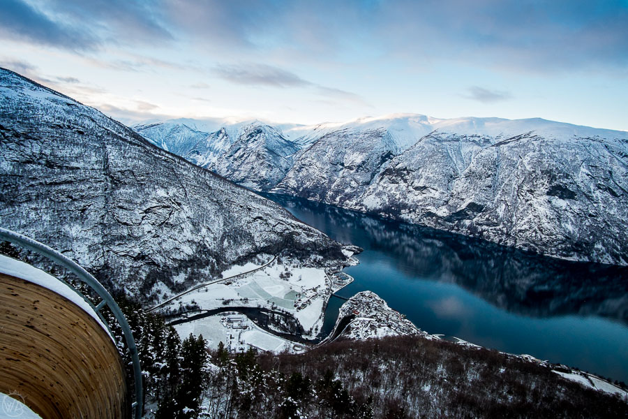 View from Stegastein viewpoint to Aurland in winter