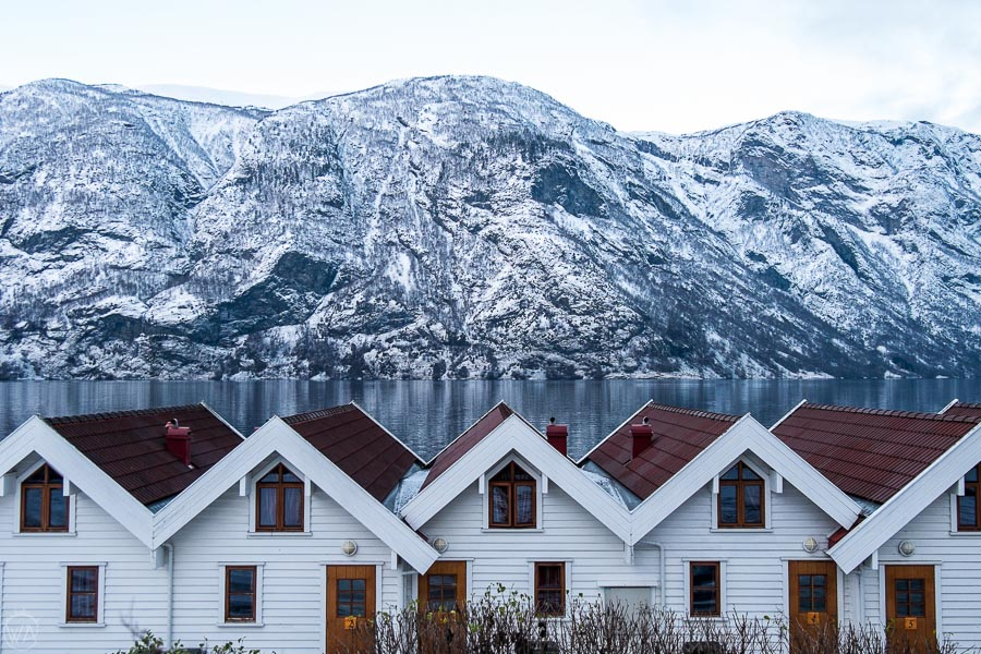 Cottages by the fjord in Aurland in winter - where to stay in Flam area, Norway