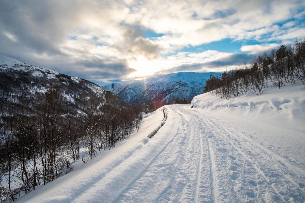 Hiking the Snow Road in Aurland in winter