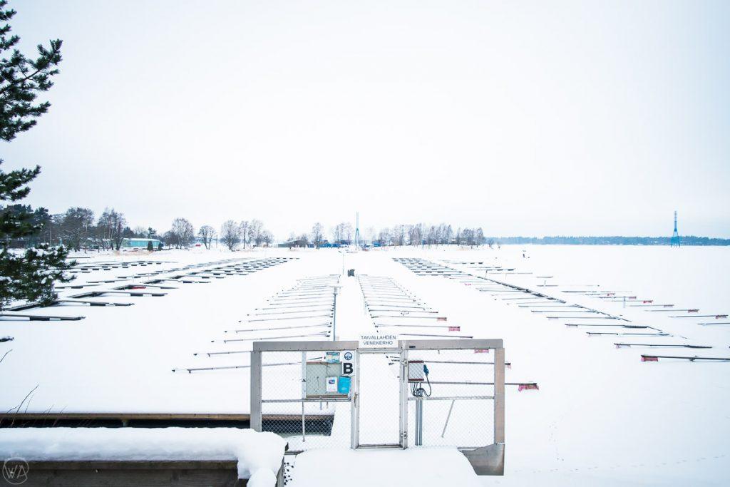 Frozen Töölönlahtibay in Helsinki in winter, Finland