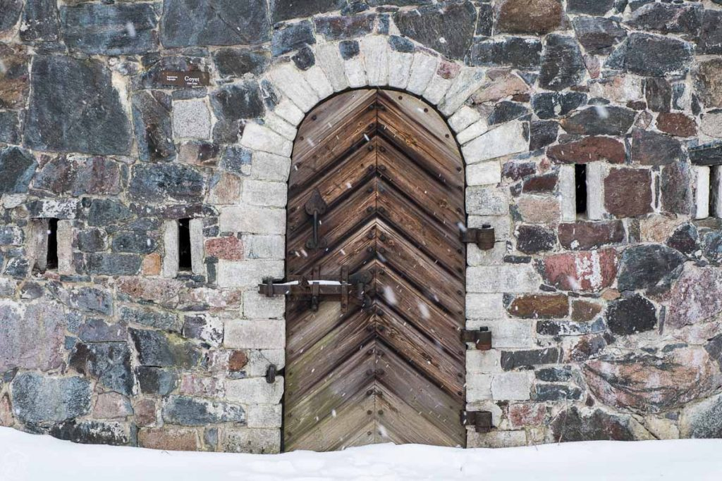 Door inside the Suomenlinna fort, what to do in Helsinki in winter, Finland