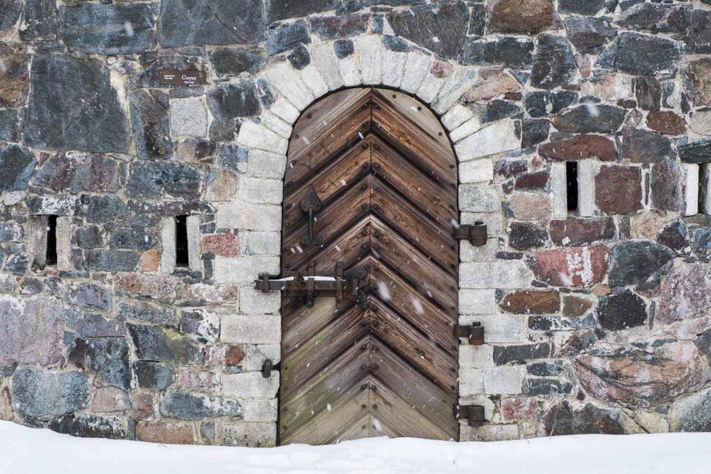 Door inside the Suomenlinna fort, what to do in Helsinki in winter, Finland