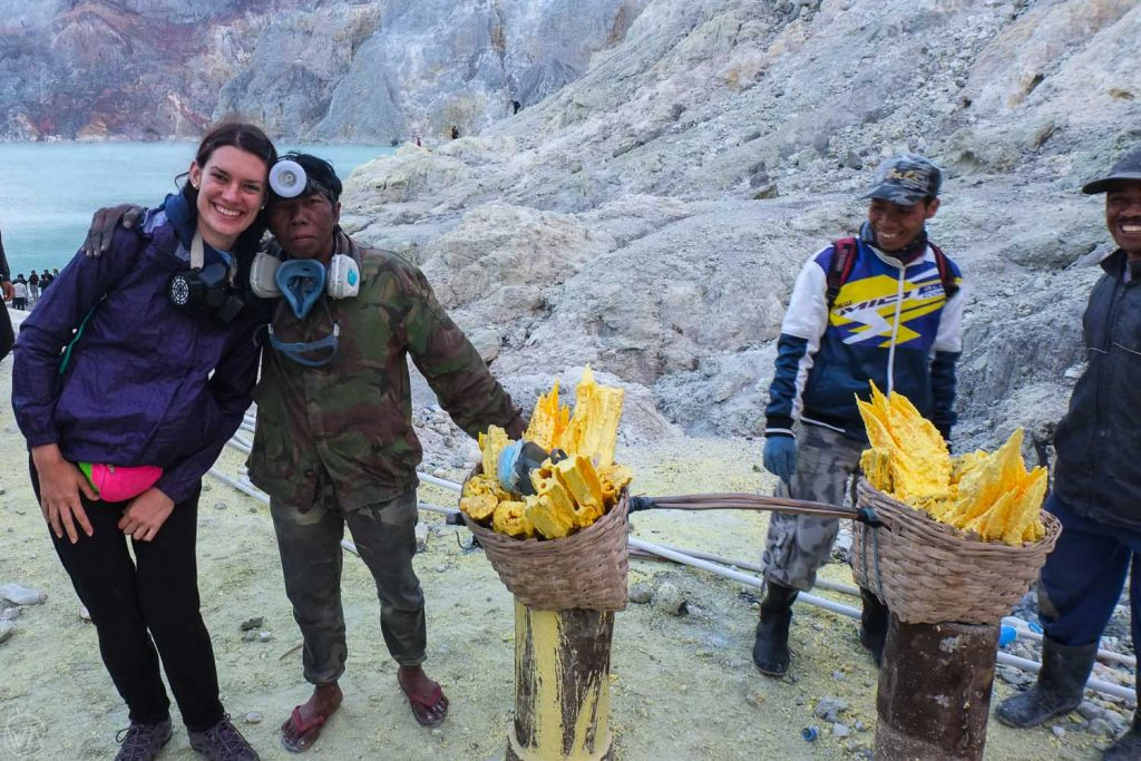Miners, Ijen volcano - best places to visit in Indonesia